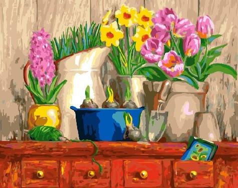 Картина по Номерам в коробке 40x50 см. Натюрморт из трёх цветков BrushMe