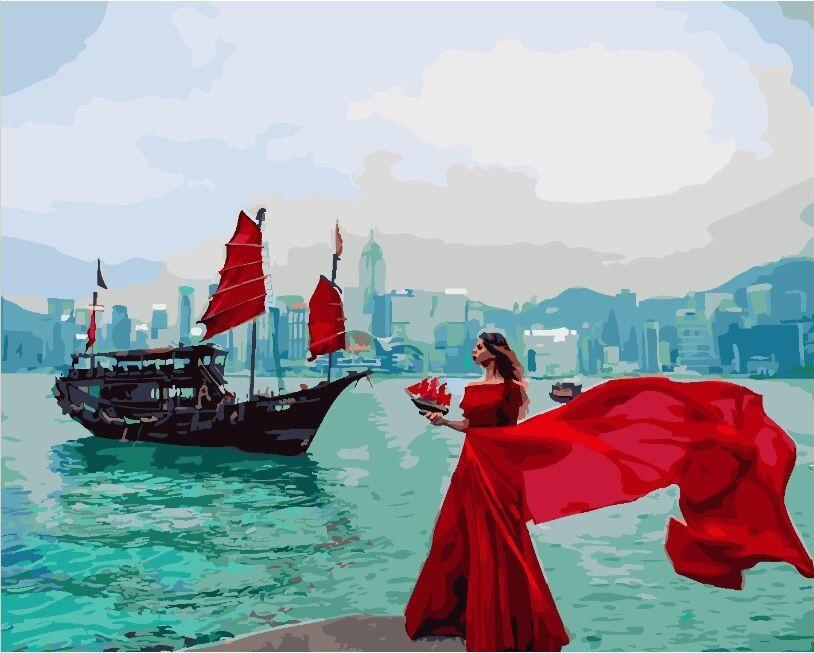 Картина по Номерам в коробке 40x50 см. Девушка у набережной Гонг-Конга BrushMe