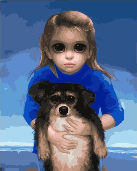 Картина по Номерам в коробке 40x50 см. Ребенок с питомцем. Маргарет Кин BrushMe
