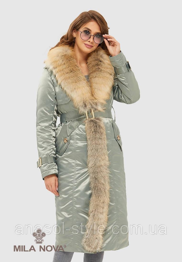 Пальто зимове атласна плащівка з поясом хутро Gold fox бірюза