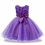 Детские нарядные платья с розочками и блестками Разные цвета, фото 4