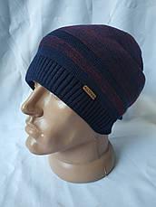 Теплая качественная и практичная вязаная мужская шапка, фото 3