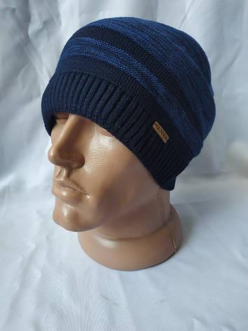 Теплая качественная и практичная вязаная мужская шапка, фото 2