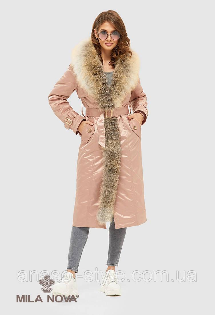Пальто зимове атласна плащівка з поясом хутро Gold fox рожеве