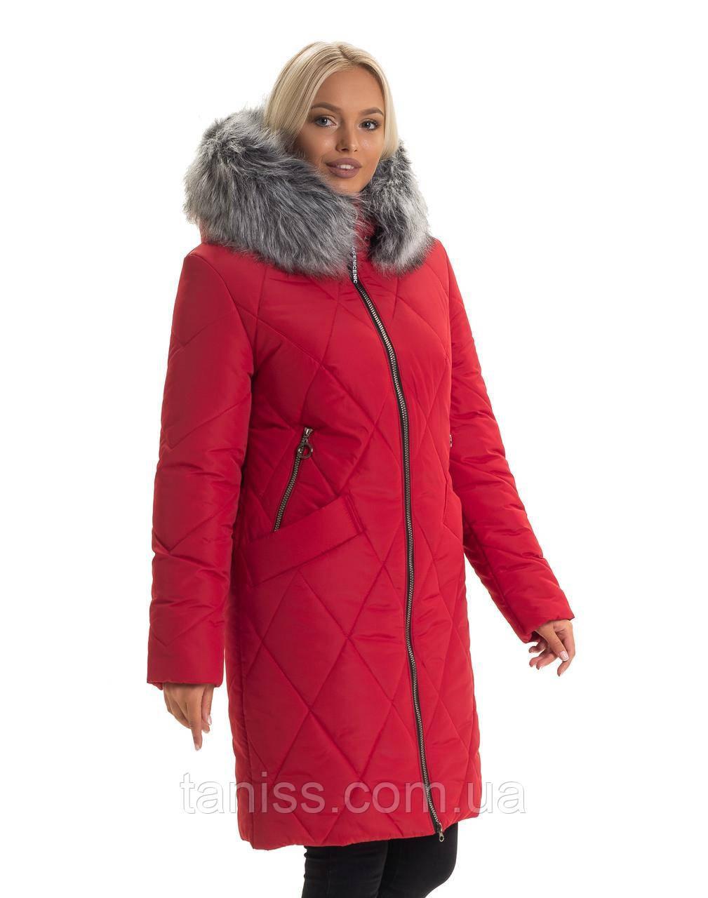 Зимний, женский пуховик большого размера,мех искусственный. капюшон вшитый. размеры 44,46,48,50 красный