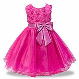 Детские нарядные платья с розочками и блестками Разные цвета, фото 9