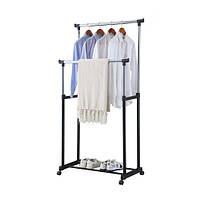 Двойная телескопическая стойка вешалка для одежды напольная Small 0175