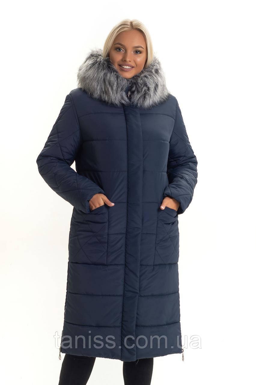 Зимовий жіночий пуховик великого розміру,штучне хутро, капюшон вшитий, розміри 46,48 синій (137)хутро