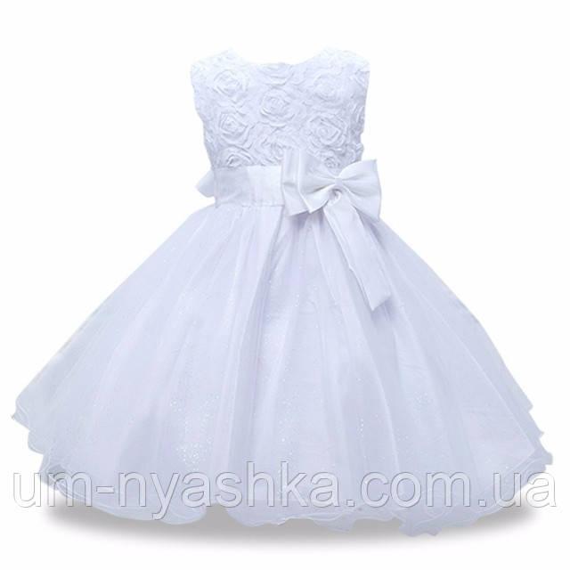 красивое белое платье нарядное на 2-6 лет