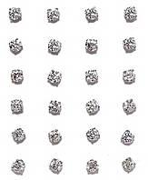 Серьги - гвоздики 12 пар,фирма Xuping. Белый циркон. Цвет: Серебряный. Диаметр серьги 4 мм.