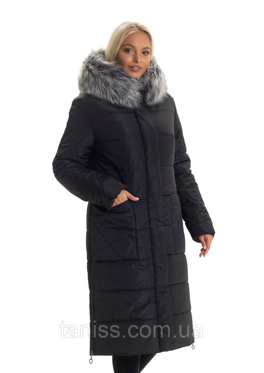 Зимний, женский пуховик большого размера,искусственный мех, капюшон вшитый, размеры 46. 48. 50. 56. 58 черный