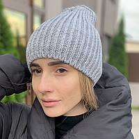 """Удлиненная женская шапка """"Невада"""" с люрексом серый"""