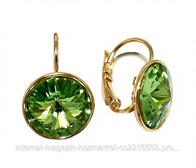 Серьги ХР, позолота.Камни: Swarovski (светло-зелёного цвета). Диаметр серьги: 13 мм. Высота: 2 см.