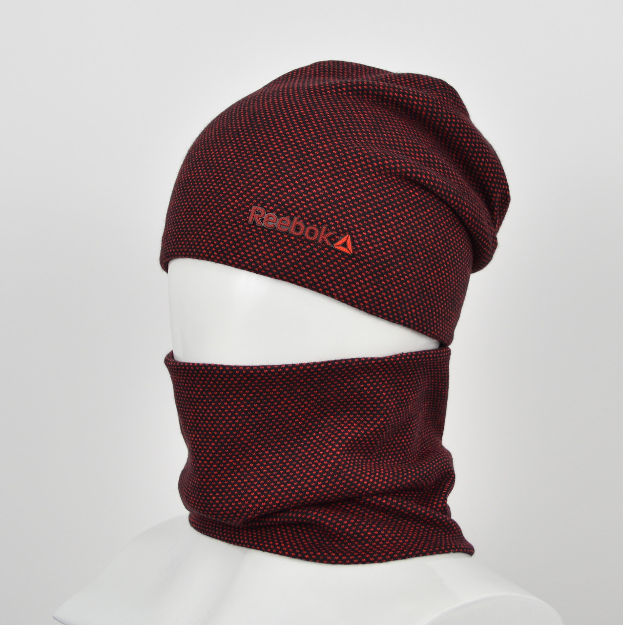"""Комплект шапка+баф """"Точки"""" reebok бордо"""
