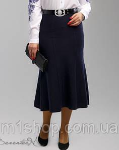 Женская трикотажная юбка годе больших размеров (2000-2001-2002-2003 svt) Т.синий