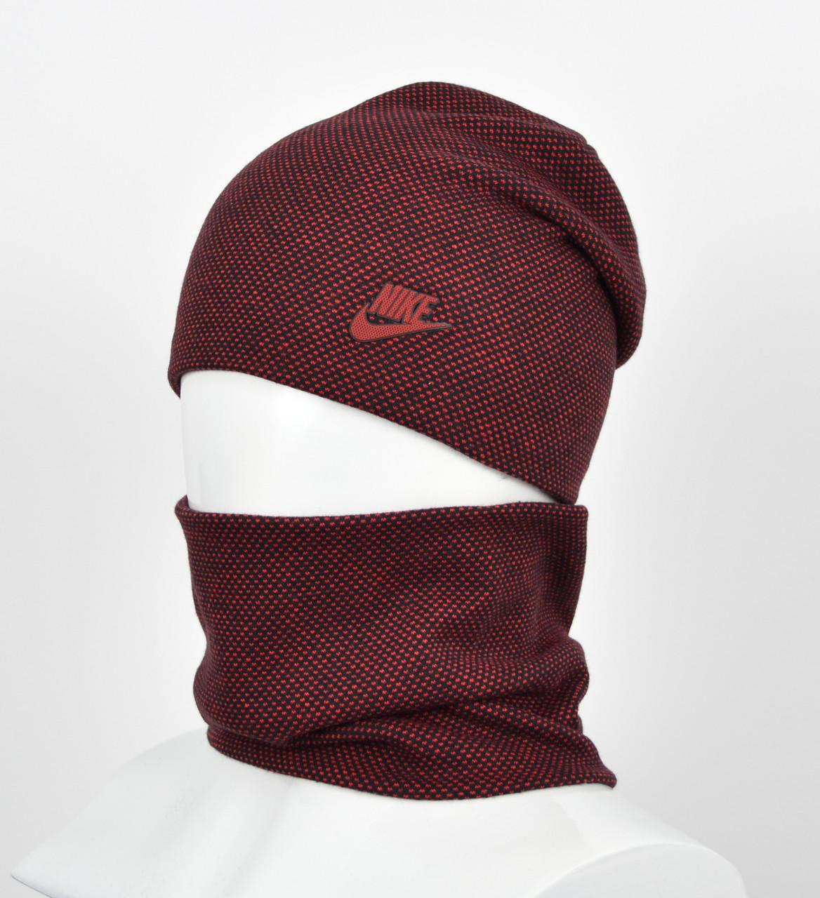 """Комплект шапка+баф """"Точки"""" Nike бордо"""