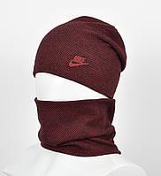 """Комплект шапка+баф """"Точки"""" Nike бордо, фото 1"""