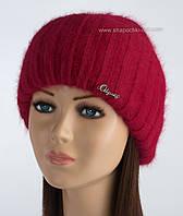 Красивая вязаная шапочка Кейла с люрексом рубин
