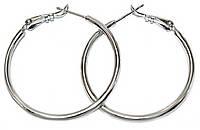 Серьги - кольца , цвет: серебряный, диаметр: 5 см, ширина: 2 мм.
