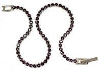 Браслет женский ХР. Цвет: серебряный. Камни: сиреневый циркон . Длина 18 см.Ширина 2 мм