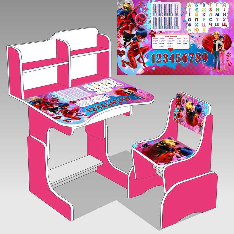 """Парта школьная """"Леди Баг"""" ЛДСП ПШ 033 цвет малиновый  парта + 1 стул"""