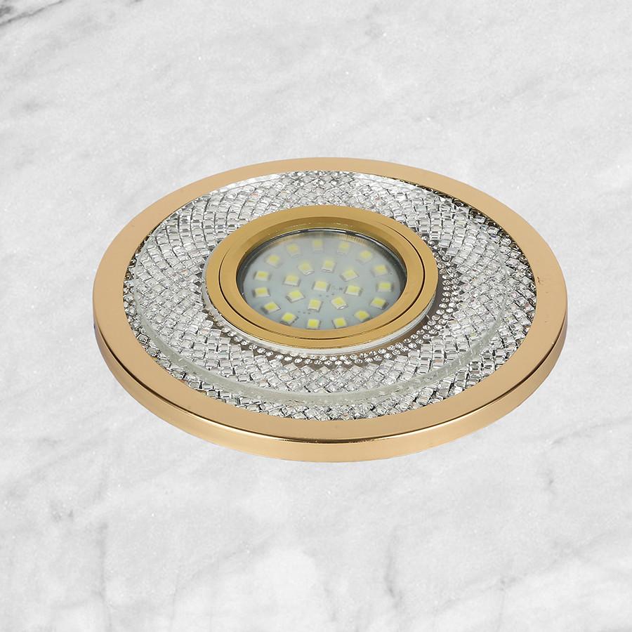 Золотой светильник с лэд лентой и стразами (12см)