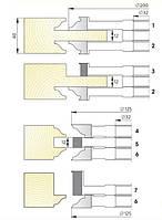Комплект фрез для изготовления  арочных дверей с остеклением  и термошвом В-014  (7фр.)