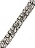 Браслет женский ХР. Цвет: серебряный. Камни: белый циркон. Длина 17.5-19.5 см.Ширина 4 мм