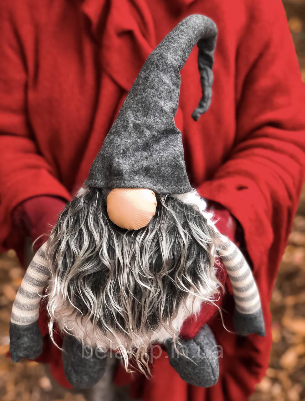 Новогоднее украшение «Огромный гном». серый