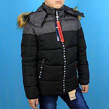 808чер Куртка зимняя для мальчика Черная тм Child Hood размер 4,8,10,12