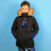1806чер Зимняя куртка для мальчика Черная тм Child Hood размер 10,12