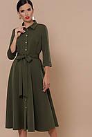 "Платье из костюмки ""Ефимия"" д/р  р. S М хаки, фото 1"