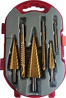 Набор ступенчатых сверл (конусных, шаговых, елочка) и сверл-фрез по металлу Step Drill
