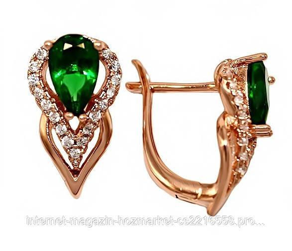Серьги XР. Цвет:позолота с кр.от. Камни: зелёный и белый циркон. Высота серьги: 1,7 см. Ширина: 9 мм.