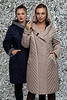 Женское демисезонное пальто с капюшоном комбинированное с варенной шерстью, большой размер | 46-62р.