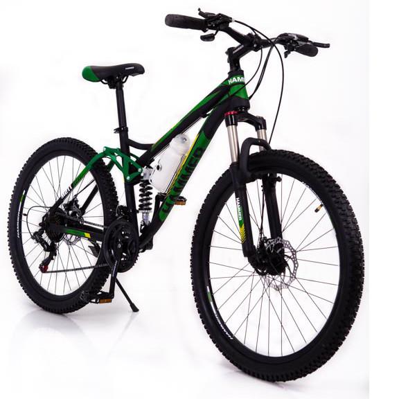 Горный велосипед на амортизации HAMMER ACTIVE 26-S211 Сборка 85% Япония Shimano Двухподвес от 160 см Зеленый