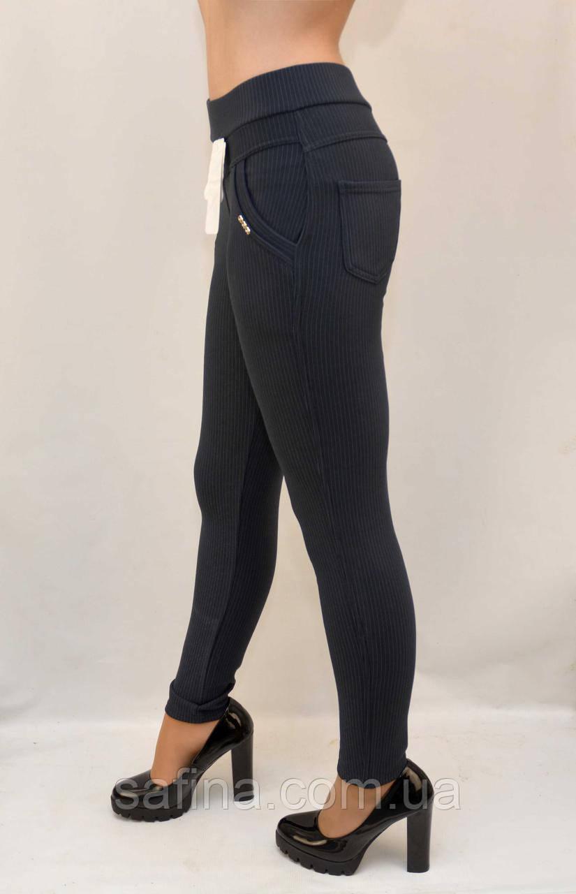 Утеплённые брюки в полоску L-6XL зима