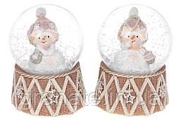 """Снежный стеклянный водяной шар """"Снеговик"""" 6.5 см (12 шт в упаковке) 2 вида"""