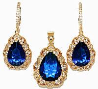 """Набор ХР """"кулон и серьги """"Цвет: позолота; Камни: синий циркон и россыпь белых фианитов. Диаметр: 2,5 см"""