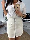 Женская кожаная юбка выше колена с молнией 58jus301, фото 2