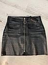 Женская кожаная юбка выше колена с молнией 58jus301, фото 5