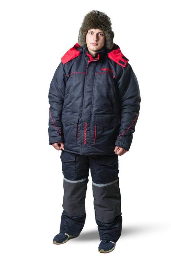 Зимовий костюм для риболовлі та полювання SnowmaX синій /червоні вставки Хіт 2019