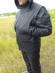 Демисезонный костюм  утепленный на флисе  Таслан черный
