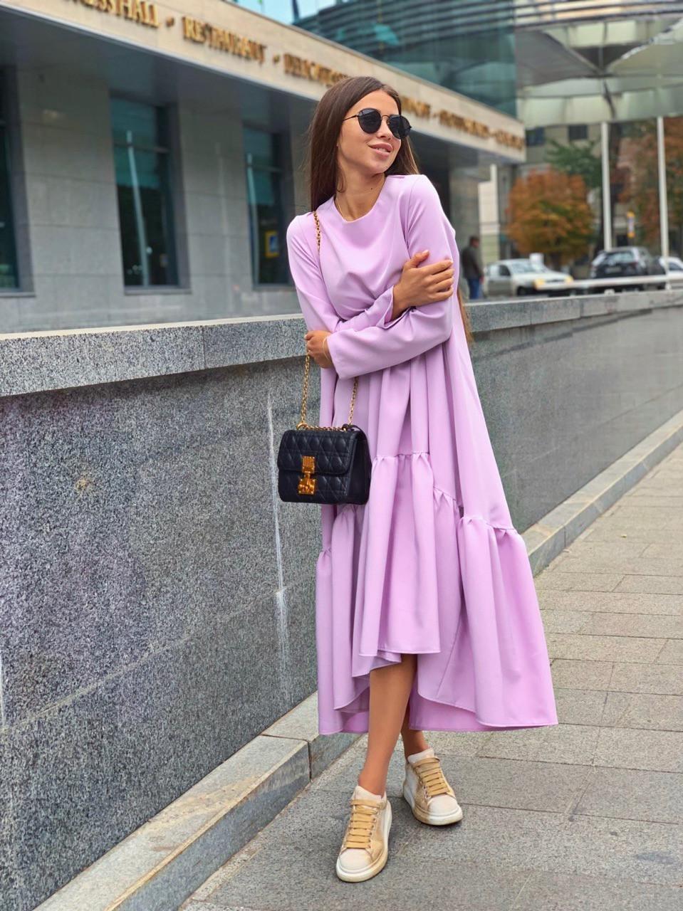 Свободное длинное асимметричное платье с оборкой 63plt216