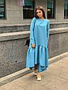 Свободное длинное асимметричное платье с оборкой 63plt216, фото 5