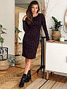Трикотажное принтованное платье по фигуре с длинным рукавом 73plt213, фото 3