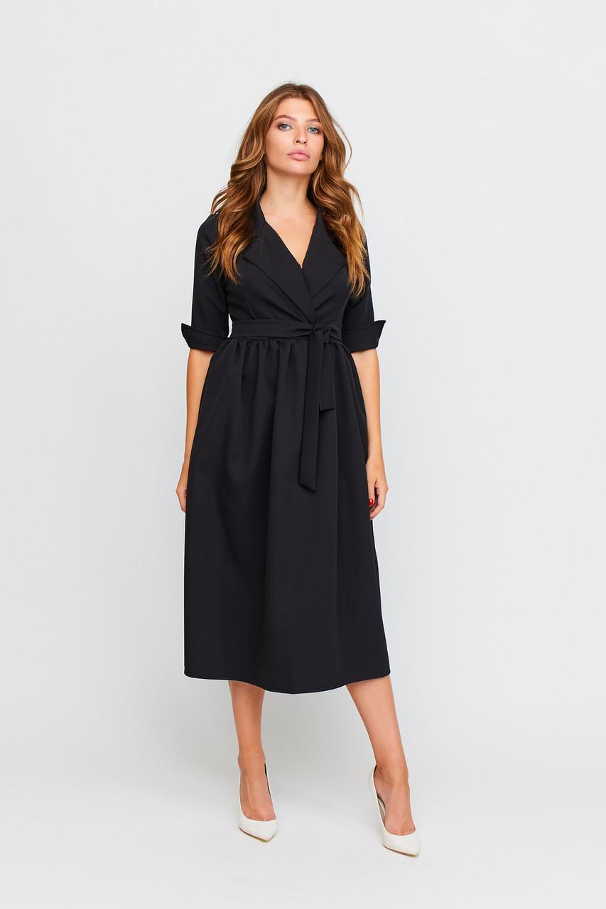 Стильное черное платье миди с декольте, фото 1