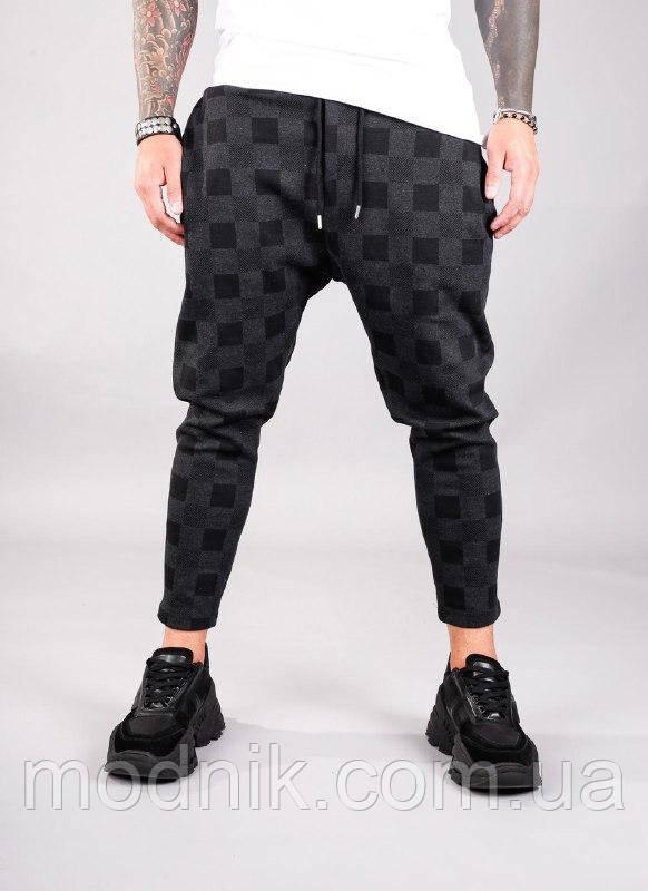 Мужские стильные брюки с квадратиками (черные) - Турция