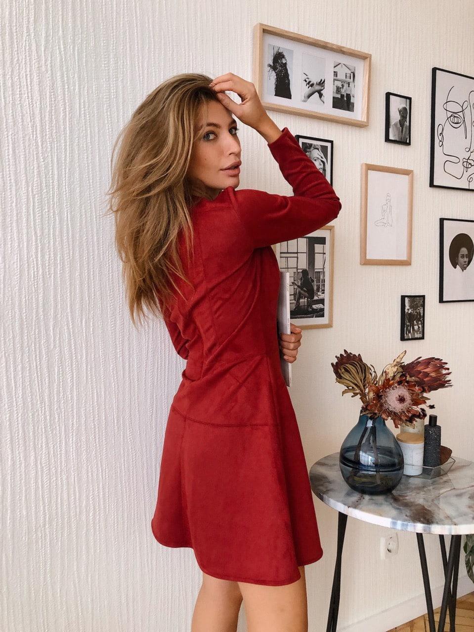 Замшевое платье с расклешенной юбкой и длинным рукавом 73mpl215, фото 1