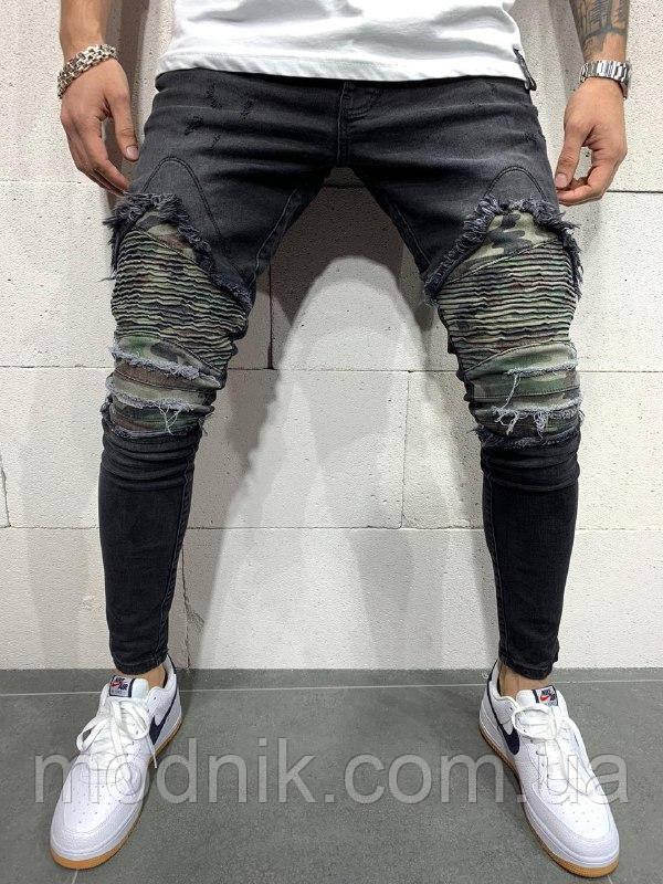 Мужские стильные джинсы (темно-серые) - Турция